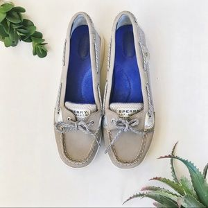 SPERRY TOP SIDER Metallic Silver Boat Shoes
