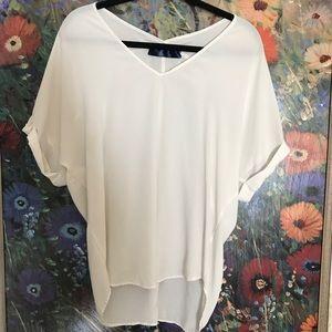 White V-neck sheer blouse from Francesca's