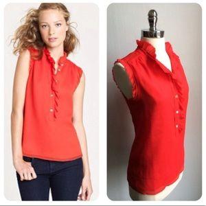 JCrew Natasha red silk blouse 0P