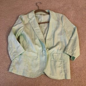 Nordstrom mint green 3/4 sleeve blazer
