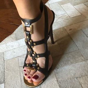 Tory Burch brown and gold cage heel