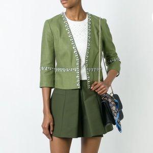 Tory Burch Green Embellished Blazer