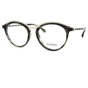 chanel 3281 black. chanel round eyeglasses 3349qa striped black 51mm 3281