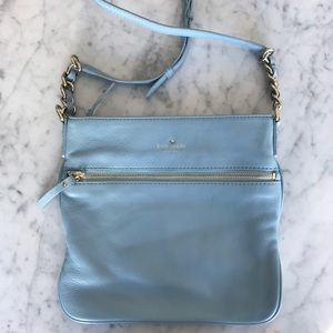 Kate Spade baby blue leather crossbody zip top