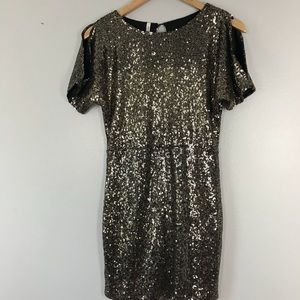 Gold Sequin New Years Party Cocktail Dress Small