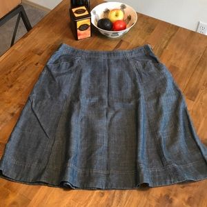 L. L. Bean Size 10 classic fit Chambray Skirt
