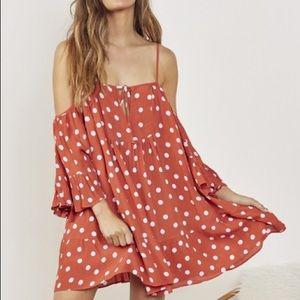 TULAROSA polka dot cold shoulder dress