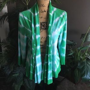 Green tie dyed knit jacket