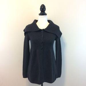 VINCE women's dark gray peplum cardigan — size XS