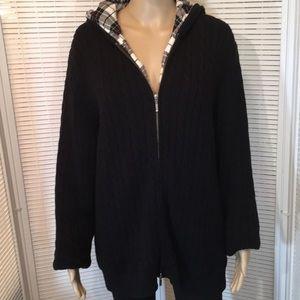 L.L. Bean Plaid Lined Black Hooded Cardigan XL EUC