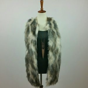 Shaggy Faux Fur Neutral Multi Color Vest