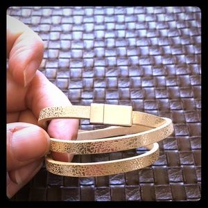 Jewelry - NWT gold tone leather wrap with magnet clasp