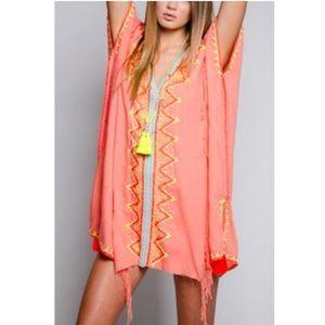 Z&L Orange Gypsy boho bathing suit coverup