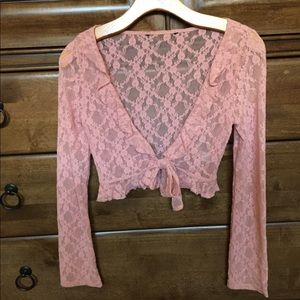 Guess XS Pink Lace Top Jacket!