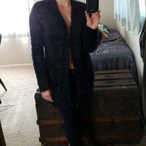 sexy long fuzzy cardigan