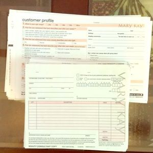 Mary Kay sales receipt and customer profile.