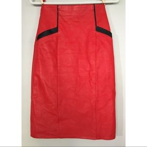 308b498696 Vintage Skirts | 80s Red Leather Pencil Skirt Xs | Poshmark