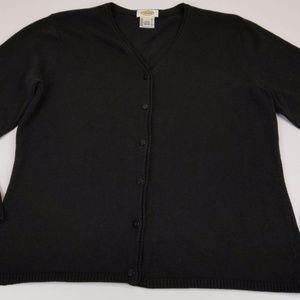 Talbots Sweater Sz Large Black V-neck Cardigan