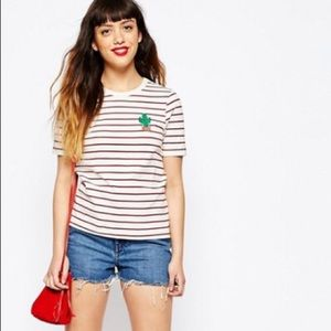ASOS embroidered cactus striped tee NWT