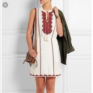 Madewell}• red embroidered dress