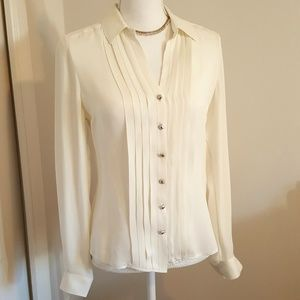 White House Black Market Pleated Silk Blouse