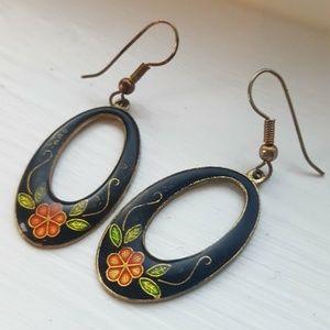Vintage Floral 1970s Earrings