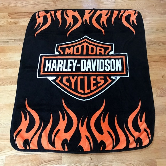HarleyDavidson Accessories Plush Black Orange Harley Davidson Interesting Harley Davidson Blankets And Throws