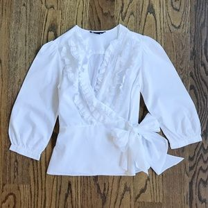 BCBG White Ruffle Wrap Top