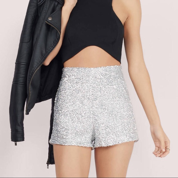 e52b3ff692 Toni silver sequins high-waisted shorts