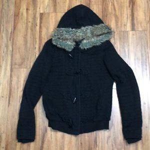 GUESS Black Quilted Faux Fur Zip Hoodie Jacket M
