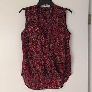 Rachel Zoe silk blouse, red/black print.