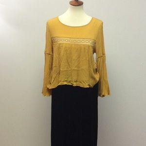 Mustard colored flowy blouse