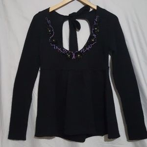 Free People Black Open Back Flower Sweater Size M