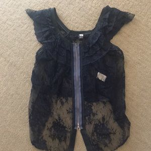 Free People Navy Lace Top Size: XS