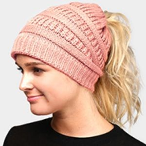 Solid ponytail stretch knit hat.