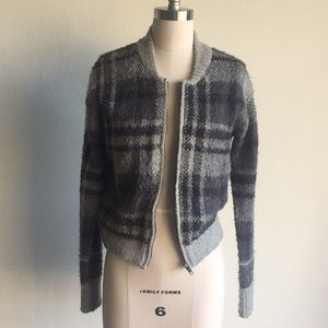 Free People Gray Plaid Bomber Sweater jacket