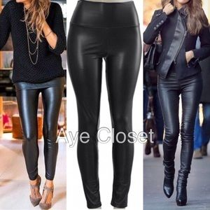 Pants - Leather leggings high waist lined tummy control