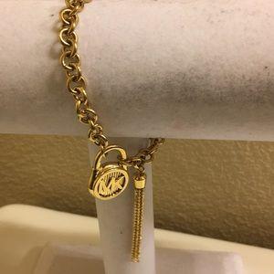 Michael Kors Chain Tassel Padlock Bracelet Gold!