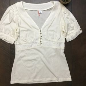 Anthropologie Ric Rac Ivory Buttoned Textured Top