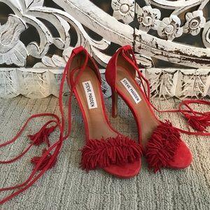 Red fringe wrap Steve Madden heels