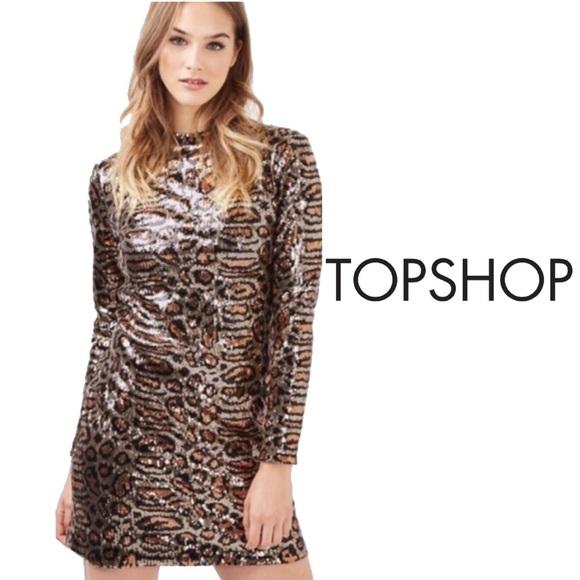 0f6ed6a5bd Topshop Cheetah Print Sequin Dress Size 4. M_5a2e2d01291a3592860310fb