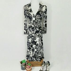INC 100% Silk Long Sleeve Black & White Wrap Dress