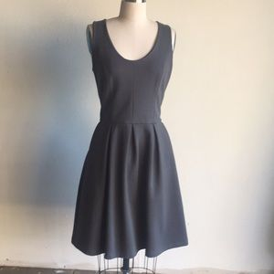 Anthropologie gray cotton fit n flare dress