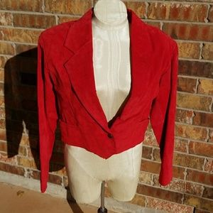 Incredible Vintage Red Suede Leather Fringe Jacket