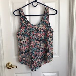 PINK AND TEAL PATTERNED SCOOP NECK TANK