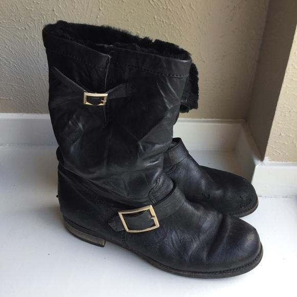 jimmy choo shoes rabbit fur lined boots biker black moto poshmark rh poshmark com