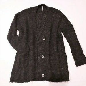 Free People Boucle Slouch Cardigan Oversized Sweat