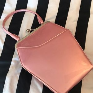Tatyana coffin purse light pink pearl patent NWOT