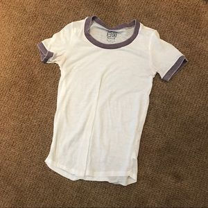 White tshirt with purple outlining