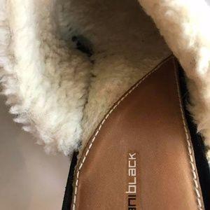 Daniblack Shoes - Daniblack suede shearling lined clogs slide shoes